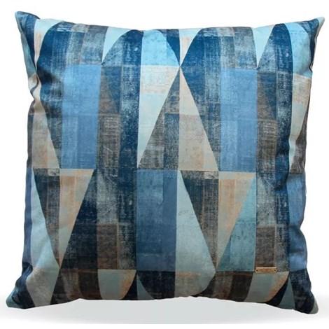 Almofada Elegance Veludo Geométrico Azul - 50cmx50cm