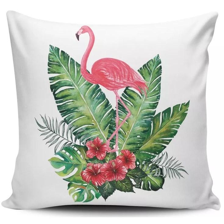 Almofada Flamingo na Folhagem - 45cmx45cm