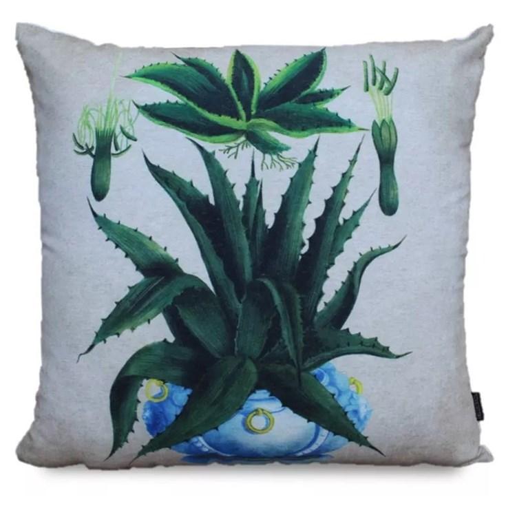 Almofada Linho Estampa Aloe Vera - 52cmx52cm