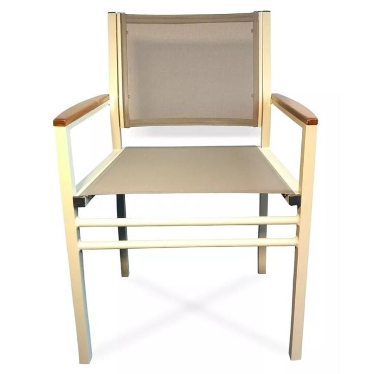 Cadeira Sling com Braço Bege e Marrom