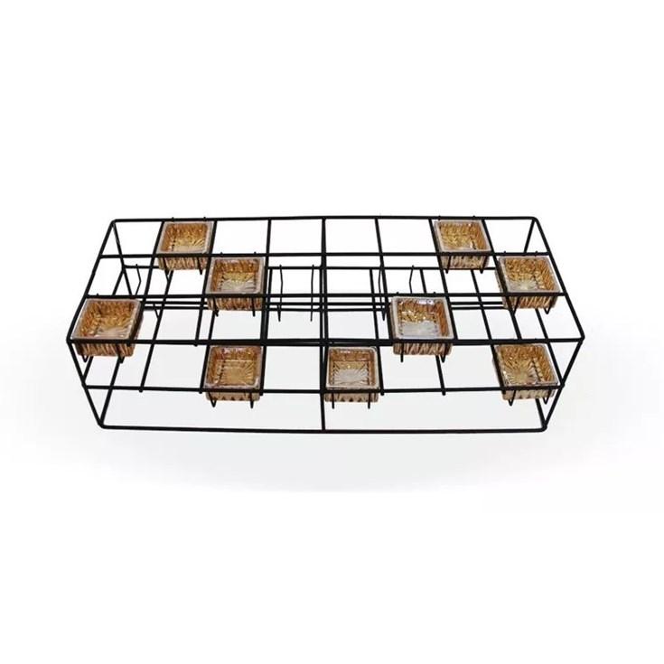 Castiçal Mesa Retangular Metal e Vidro