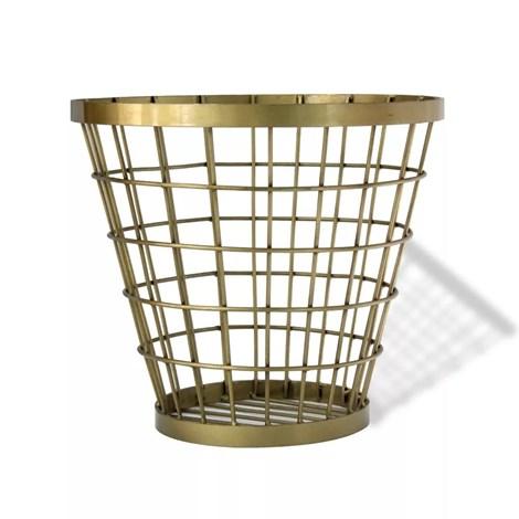 Cesto Baldinho Simple em Metal Dourado