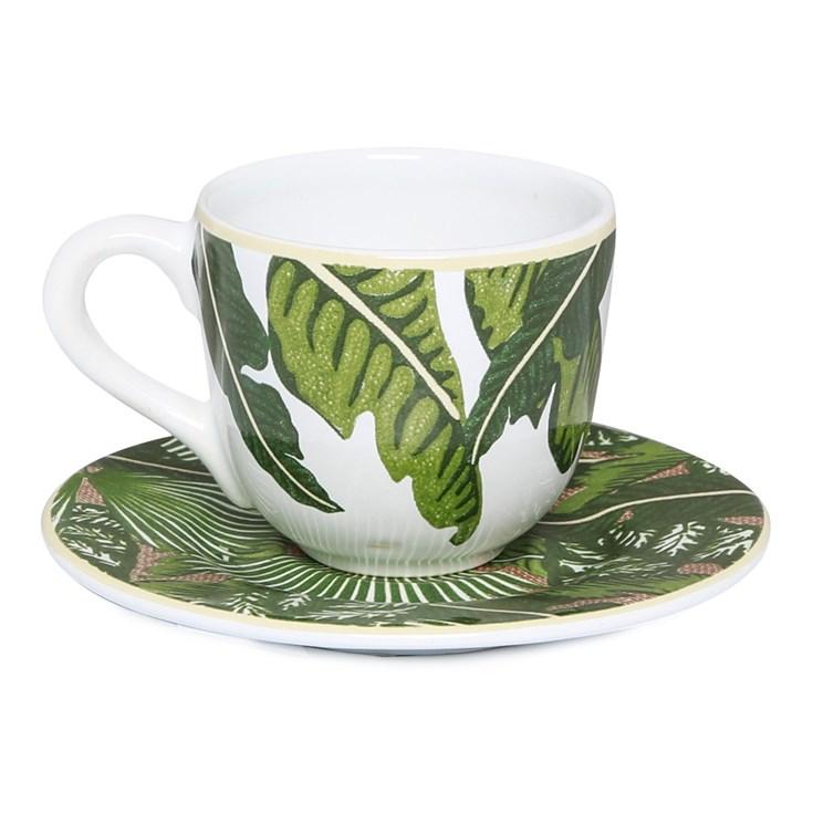 Conjunto de Xícara e Pires de Cerâmica Verde com Estampa Amazônia da Água de Coco