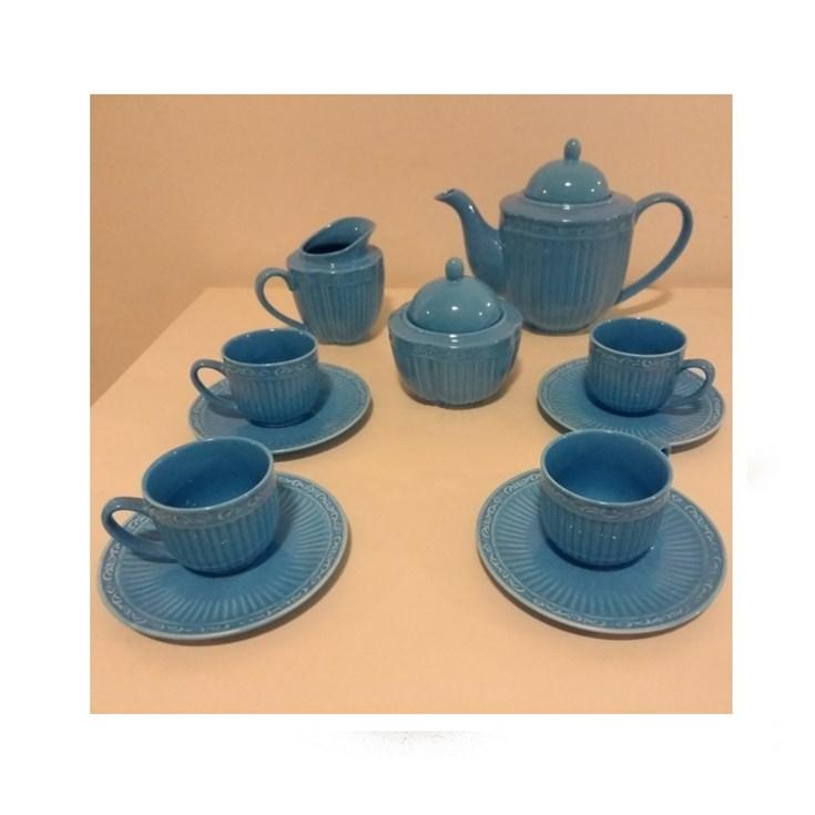 Conjunto para Chá em Cerâmica Ana Azul