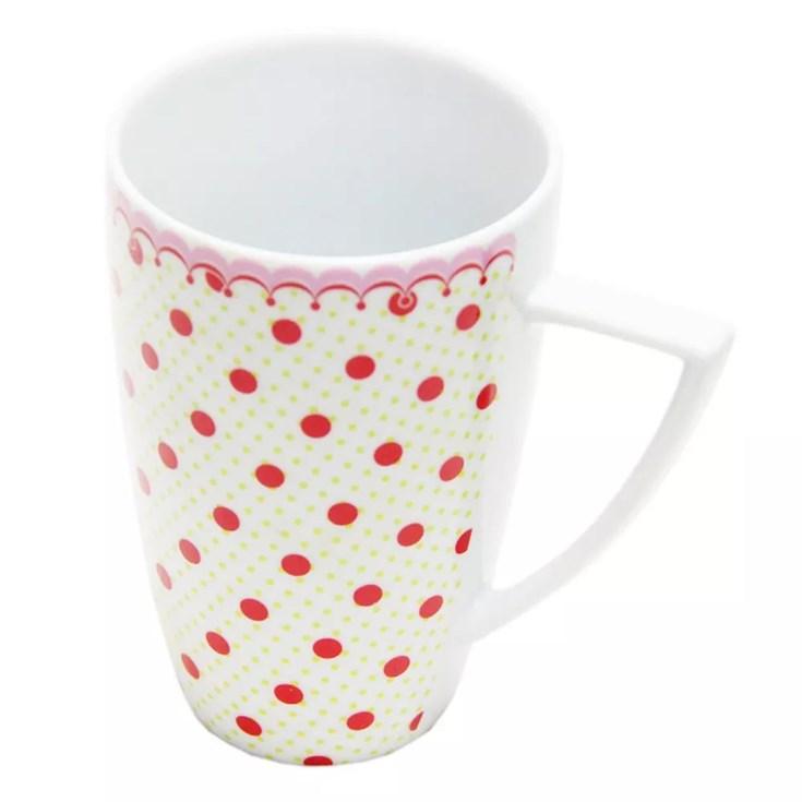 Jogo de Caneca c/6 pcs de porcelana cor Vermelho/RO