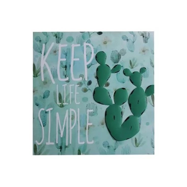 Quadro Cacto Metal Canvas Keep Life Simple