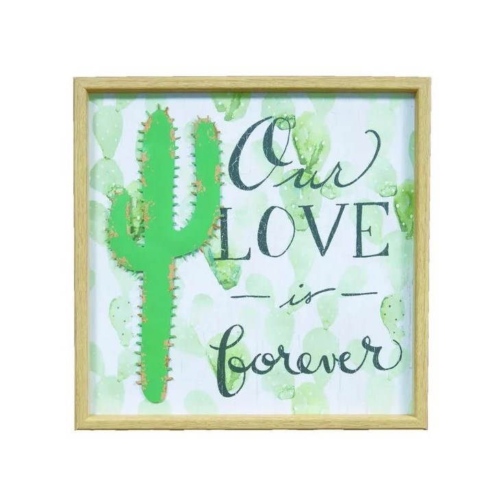 Quadro Cacto Our Love is Forever Metal/MDF