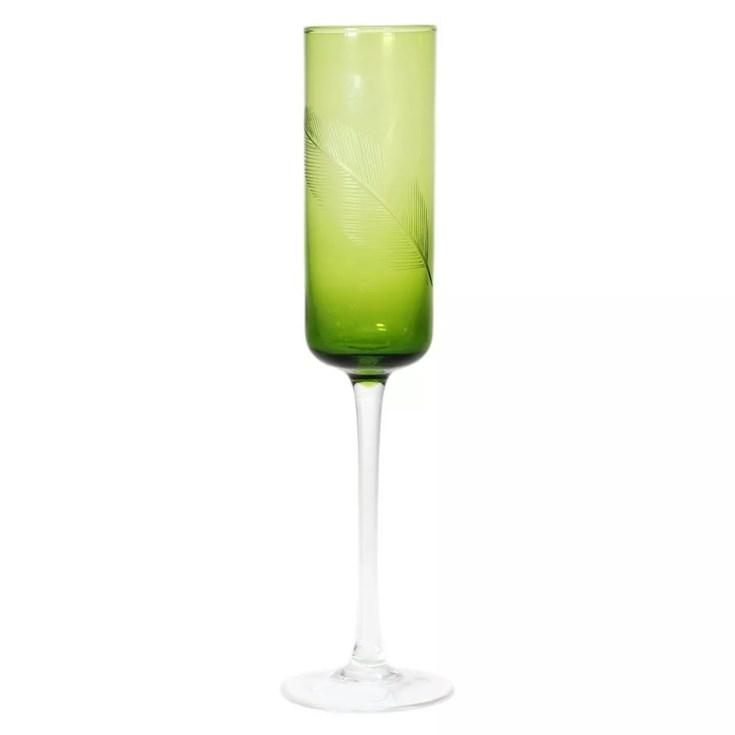 Taça Champanhe Texture Palha Verde Claro - Água de Coco
